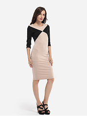 Round Neck Cotton Assorted Colors Bodycon-dress
