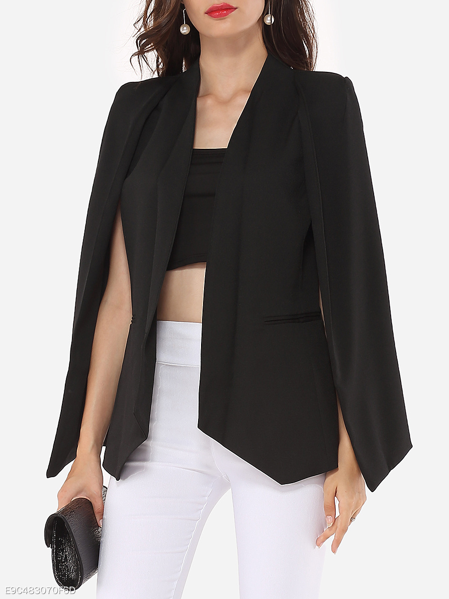 Narrow Notch Lapel Plain Cape Sleeve Blazers