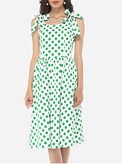 Polka Dot Bowknot Delightful Round Neck Skater-dress