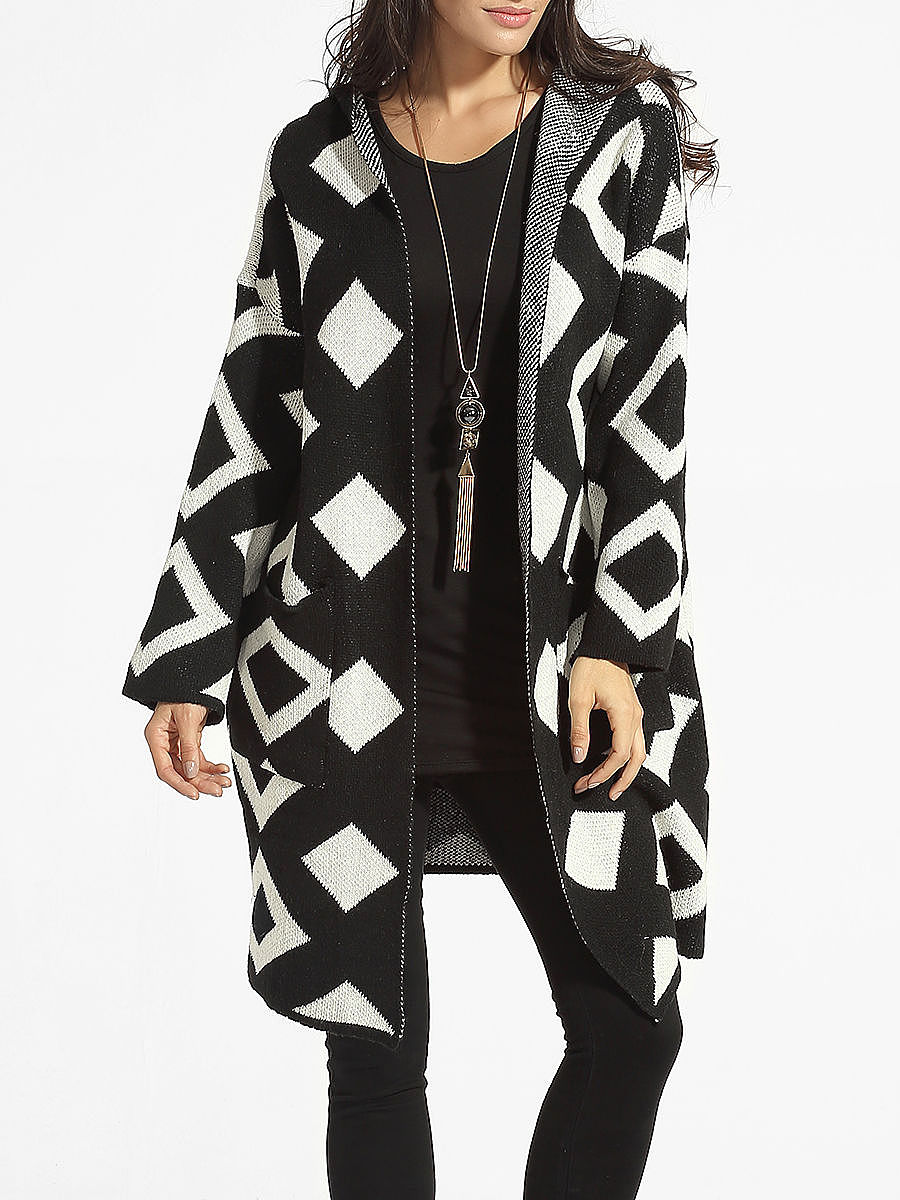 Hooded Geometric Cardigan