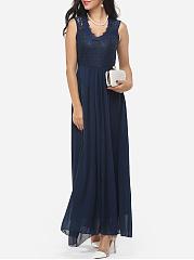 Zips-V-Neck-Dacron-Hollow-Out-Lace-Patchwork-Plain-Evening-Dress
