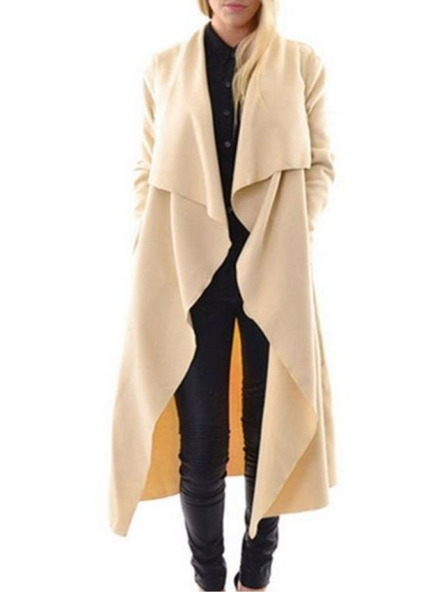 Plain Asymmetrical Hems Brilliant Lapel Trench Coats