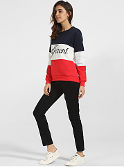 Round Neck Cotton Color Block Letter Printed Sweatshirt