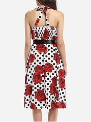 Bowknot Halter Cotton Assorted Colors Floral Polka Dot Printed Skater-dress