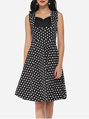 Polka Dot Delightful V Neck Skater-dress