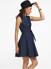 Bowknot Polo Collar Denim Plain Skater-dress