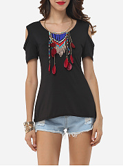 Hollow Out Lace Patchwork Plain Modern Round Neck Short-sleeve-t-shirt