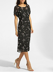 Round Neck Hollow Out Floral Roll-up Sleeve Maxi Dress