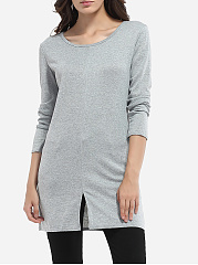 Round Neck Knit Longline Tees Plain Split Long-sleeve-t-shirt