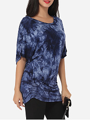 Batwing Round Neck Cotton Longline Tees Printed Short-sleeve-t-shirt