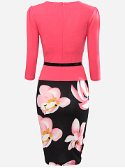 Floral Printed Belt Fake Two-Piece Bodycon Dress