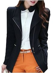 Lapel  Vented Trendy Zips  Plain Blazer