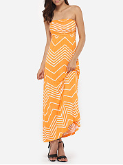 Tube Dacron Zigzag Striped Maxi-dress