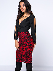 Sexy Patchwork Deep V-Neck Bodycon Dress With Split Sleeve