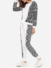 Round Neck Dacron Printed Top And Dacron Print Pants