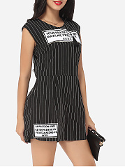 Printed Striped Designed Rompers