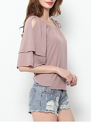 Spring Summer  Polyester  Women  Open Shoulder  Flounce  Plain  Half Sleeve Short Sleeve T-Shirts