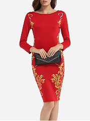 Round Neck Paisley Printed Bodycon Dress