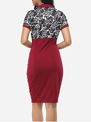 Patchwork Printed Elegant V Neck Bodycon Dress