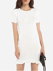 Mermaid Round Neck Knit Plain Bodycon-dress