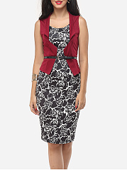 Printed Chic Asymmetric Neckline Bodycon Dress