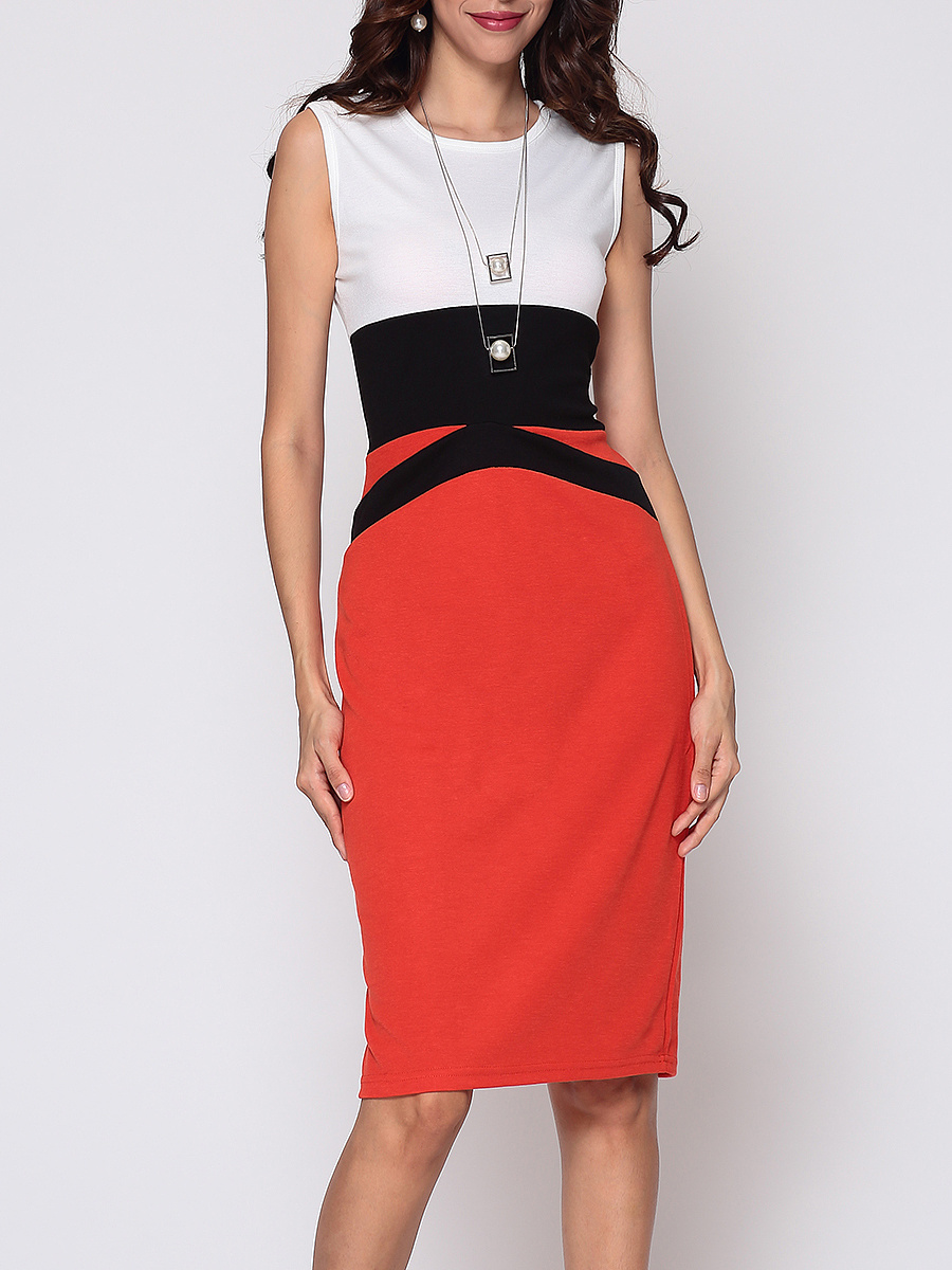 Color Block Celebrity Round Neck Bodycon-dress