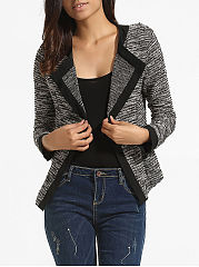 Fold-Over Collar  Patch Pocket Patchwork  Plain Cardigans