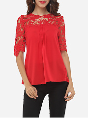 Spring Summer  Cotton  Women  Round Neck  Decorative Lace  Plain Short Sleeve T-Shirts