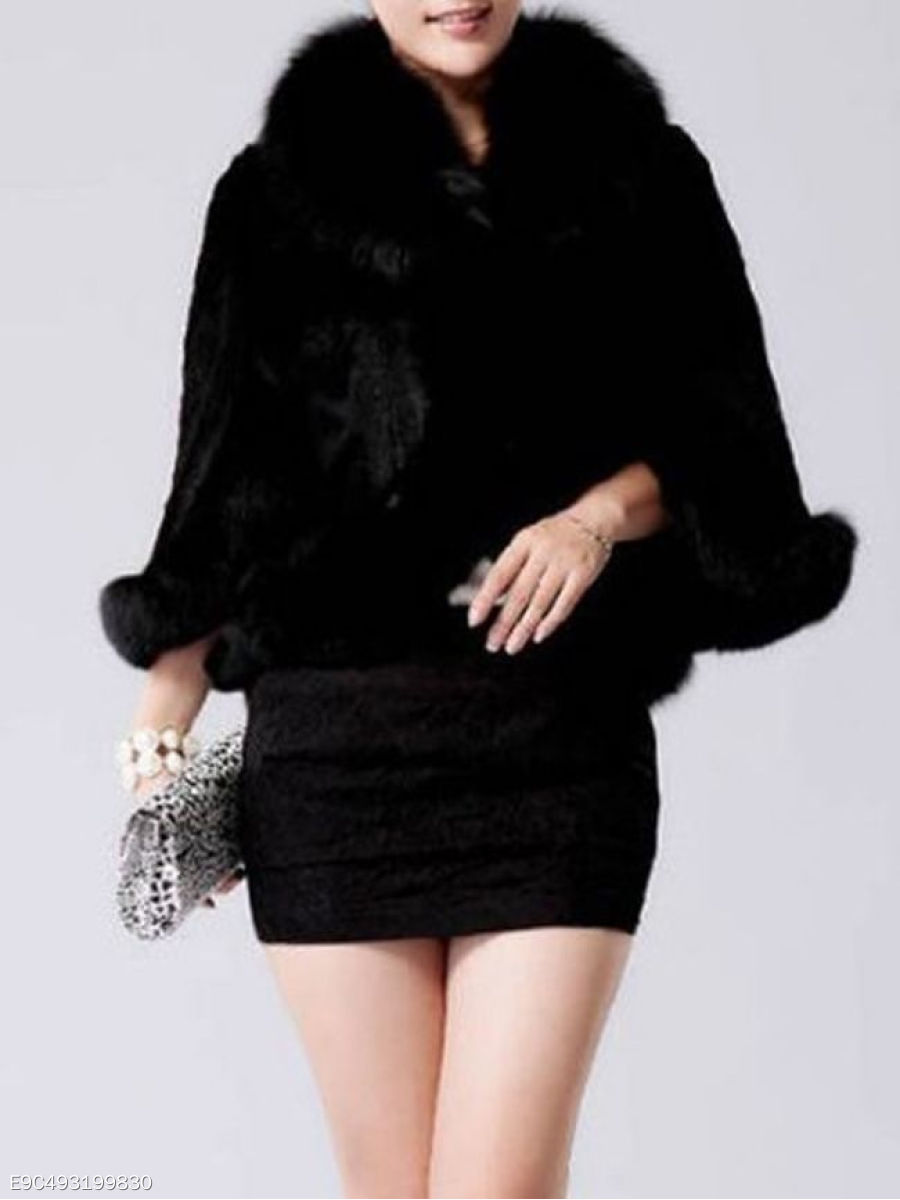 Patchwork Fur Collar Elegant Faux Fur Overcoats