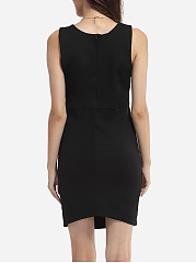 Zips Round Neck Plain Side Slit Bodycon-dress