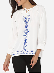 Round Neck Cotton Printed Blouse