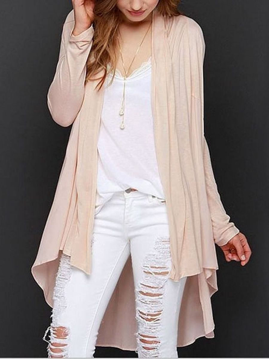 BASIC Asymmetrical Hems Collarless Cardigan