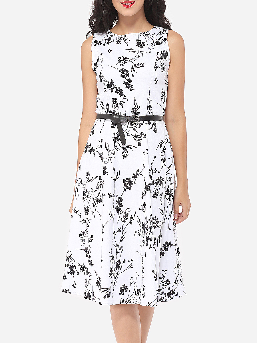 Floral Printed Captivating Round Neck Skater-dress