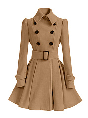 Lapel Plain Double Breasted Removable Tie Coat