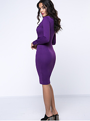 Office V-Neck Plain Slit Bodycon Dress