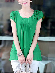 Autumn Spring Summer  Polyester  Women  Round Neck  Flounce  Floral Plain  Short Sleeve Blouses