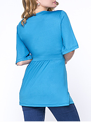 Excellent Bowknot  Plain Plus Size T-Shirt