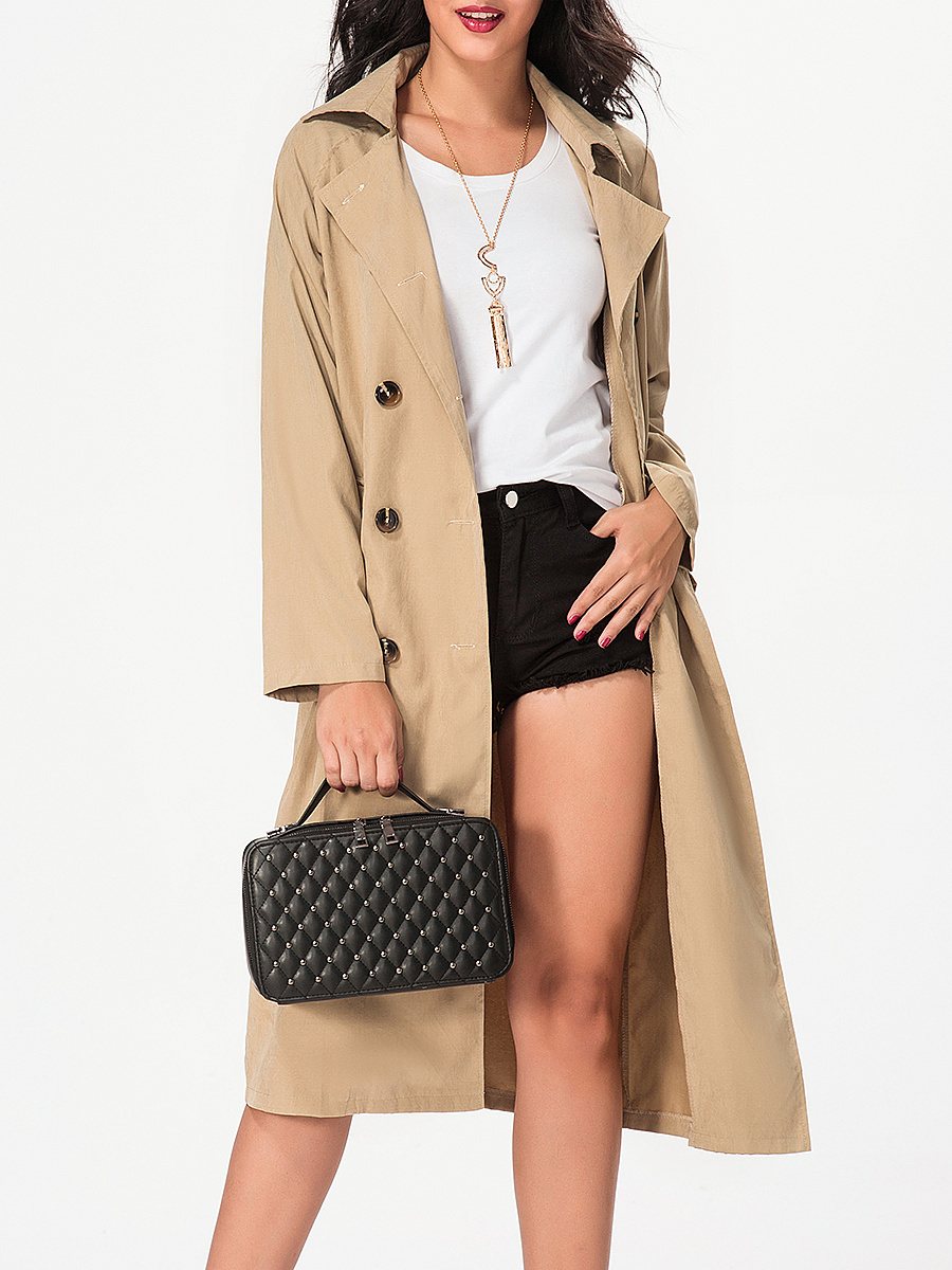Lapel Double Breasted Plain Trench-Coat