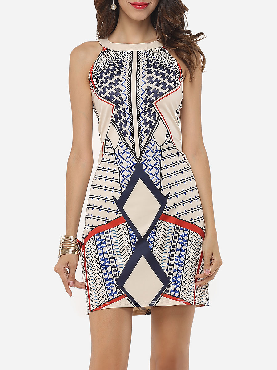 Printed Charming Round Neck Bodycon Dress