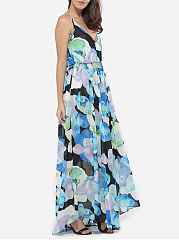 Asymmetrical Hems Halter Dacron Assorted Colors Hollow Out Printed Maxi Dress