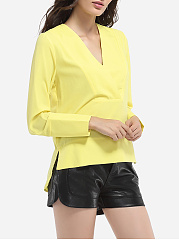 V Neck Dacron Plain Blouse