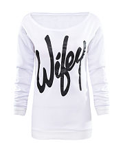 Autumn Spring  Cotton  Women  Letters Long Sleeve T-Shirts