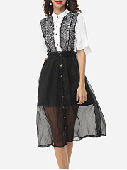 Assorted Colors Lace Patchwork Seethrough Elegant Button Down Collar Skater-dress