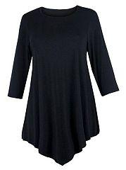 Plain-Asymmetrical-Hems-Charming-Plus-Size-T-Shirt
