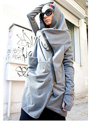 Plain With Zips Chic Hooded Overcoats