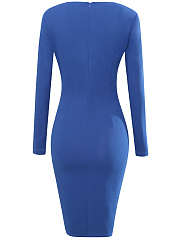 V-Neck Plain Slit Bodycon Dress