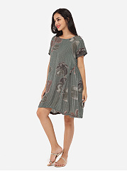 Loose Fitting Round Neck Linen Printed Shift-dress