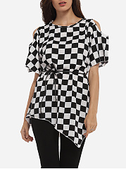 Asymmetrical Hems Round Neck Dacron Hollow Out Plaid Short-sleeve-t-shirt