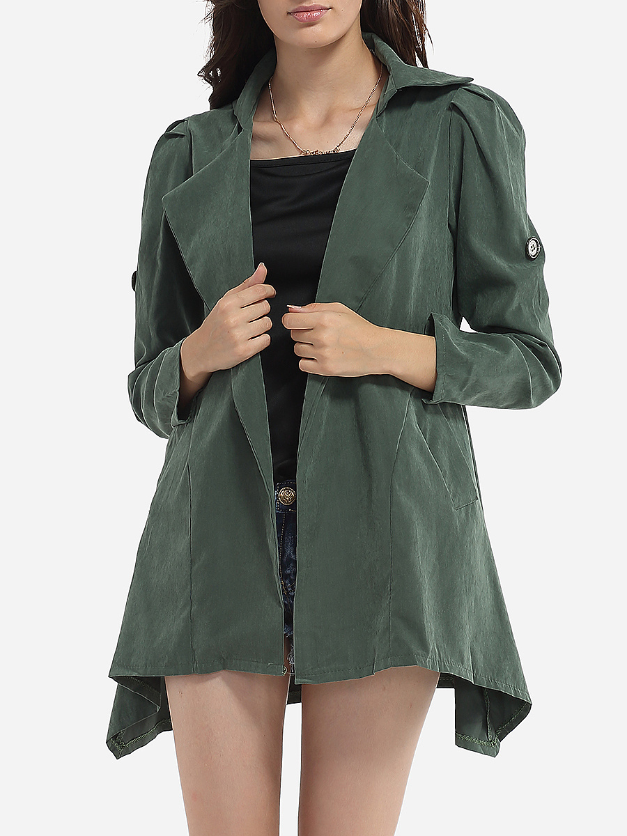 Pockets Asymmetrical Hems Decorative Buttons Collarless Dacron Plain Trench-Coats