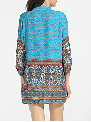 V Neck Dacron Bohemian Paisley Shift Dress